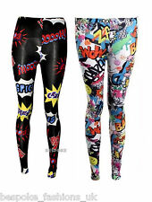 Womens Girls Comic Bang Kapow Full Length Ankle Stretchy Leggings Plus Size 8-22