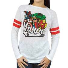Womens Retro Marvel Comics Burnout Sweatshirt by Freeze White NEW Long Sleeved