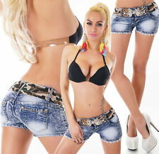 Damen Jeans Hot Pants Hotpants Shorts Jeansshorts kurze Hose Denim blue washed
