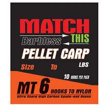MAVER 'MATCH THIS' BARBLESS PELLET CARP FISHING HOOKS TO NYLON 16/18/20 10PCS