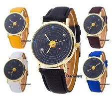 New Fashion Solar System Planets Dial Analog Wrist Watch Leather Strap Quartz