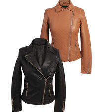 NEW WOMENS QUILTED FAUX PU LEATHER BIKER JACKET LADIES SIZE S, M, L, XL