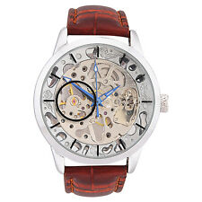 Skeleton Mechanical Hand Winding Party Wear Leather Strap wrist Watch For Men !!