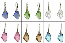 GALACTIC CRYSTAL 19MM 925 STERLING SILVER EARRINGS, made with SWAROVSKI ELEMENTS