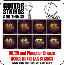 Picato 80/20 Bronze and Phosphor Bronze Acoustic Guitar Strings - ALL GAUGES