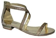 Ladies Flat Evening Prom Sandals Sparkly Diamante Gold Size 3 UK