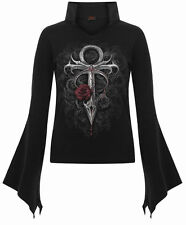 Spiral Direct VAMPIRE'S KISS, High Neck Goth Top Black|Vampire|Fangs|Roses|