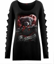 Spiral Direct TED THE IMPALER - TEDDY BEAR, Slashed Sleeve Boatneck Top|Cute