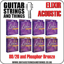 Elixir NANOWEB Phosphor & 80/20 Acoustic Guitar Strings- ALL GAUGES