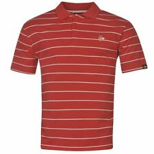 MENS RED WHITE STRIPE STRIPED DUNLOP SHORT SLEEVE GOLF TENNIS POLO SHIRT TOP