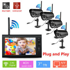 "4CH CCTV DVR 7"" Digital Wireless Baby Audio Monitor Video Record Security Camera"