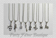 Pirate Inspired Set of 8 Silver Charm Necklaces / Personalize-Birthstone,Initial