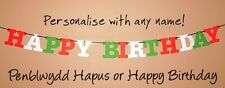 Happy Birthday Penblwydd Hapus Banner Personalised With Name Welsh Wales Party