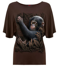 Spiral Direct MONKEY BUSINESS, Boat Neck Bat Sleeve Top Chocolate RRP=19.99|Cute