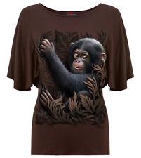Spiral Monkey Business, Boat Neck Bat Sleeve Top Chocolate RRP £19.99|Cute