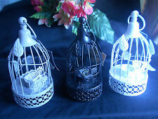 Vintage White Metal Bird Cage Candle Holder Lantern Wedding Home Decor