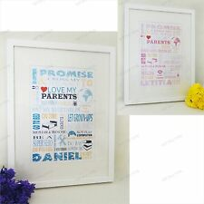 PERSONALISED CHRISTENING GIFT POSTER PRINT BABY BOY OR GIRL BIRTH SHOWER NEW