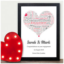 Couples Personalised Engagement Gifts Love Heart Word Art Engagement Present