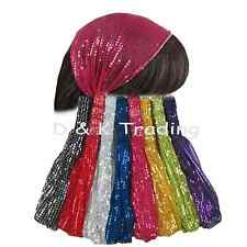 6pc Sequin Wide Fabric Bandana Chiffon Headband W/ Elastic Yoga Workout Headwrap