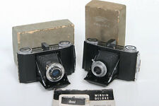 Wirgin Deluxe 6x6 Roll Film Cameras - two cameras with worn boxes