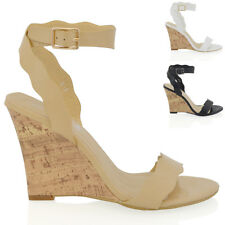 WOMENS STRAPPY WEDGE HEEL LADIES PEEP TOE SYNTHETIC LEATHER ANKLE STRAP SHOES