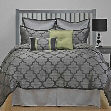 Alhambra Grey with Green accent Jacquard 8-piece Comforter Set