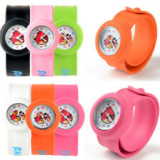 Kids Childs Angry Birds Cartoon Snap Slap On Silicone Quartz Wrist Watch Gifts