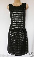 BNWT NEXT New Ladies black silver stripe foil metallic wrap tunic evening dress