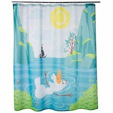 Disney Jumping Beans Shower Curtain Girls Frozen Olaf Princess Butterflies Shoes