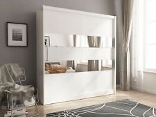 Bedroom furniture wardrobe mirror sliding 2 door white sonoma oak inner shelves