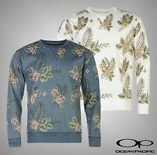 Mens Ocean Pacific Long Sleeves Tropical Floral Printed Crew Sweater Size S-XXL