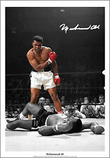 MUHAMMAD ALI SIGNED PRINT PHOTO POSTER SONNY LISTON KO BOXING WALL ART GIFT