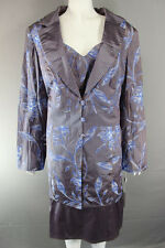 MICHEL AMBERS SILK 3 PIECE COFFEE & BLUE LONG JACKET, TOP & SKIRT SUIT SIZE22-24
