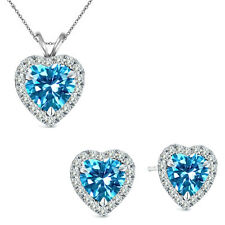 6mm Heart CZ Blue Topaz Gem Birth stone Halo Pendant Earring Set Sterling Silver