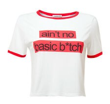 New Ladies Ex Noisy May Basic Bitch White Slogan Tee As Seen In ASOS RRP £15