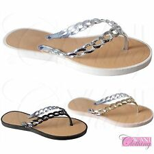 WOMENS JELLY CHAIN FLIP FLOPS TOE POST LADIES FLAT SUMMER SANDALS BEACH SHOES