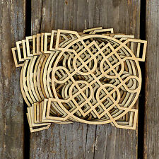 10x Wooden Celtic Knot Circle Square Detailed Craft Shapes 3mm Plywood Patterns