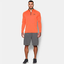 Under Armour Tech Mens Orange Quarter Zip Long Sleeve Running Sports Top