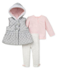 Little Me Baby Girls'  3 Piece Jacket Set, silver Multi,hooded +TOP+LEGGINGS