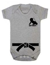 """Baby Play Suit """"Baby Karate with Black Belt"""" Karate Baby, Strong Baby- Baby Grow"""