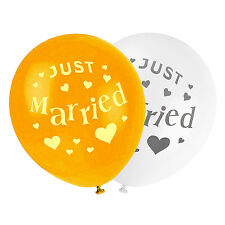 "Quality Latex Balloon Set - Ivory + Gold ""Just Married"" Balloons For Wedding etc"