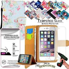 Leather Wallet Case + Tempered Glass Screen Protector For Apple iPhone 6G 6S