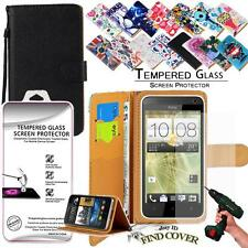 Leather Wallet Case +Genuine Tempered Glass Screen Protector For HTC Desire 516