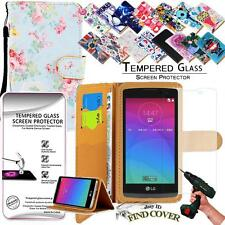Leather Wallet Case +Genuine Tempered Glass Screen Protector For LG Spirit H440n