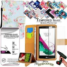Leather Wallet Case +Genuine Tempered Glass Screen Protector For LG G4 mini G4c