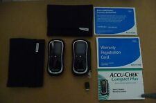 ACCU CHEK COMPACT PLUS MONITORS X2 WITH LANCET PEN 2X CASES AND BOOKLETS NEW!!!