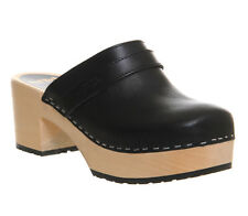 Womens Swedish Hasbeens Plateau Slip In BLACK LEATHER Heels