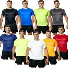 Mens Running T Shirt Exercise Sports Top Gym Active Wicking Tee King Size XS-7XL