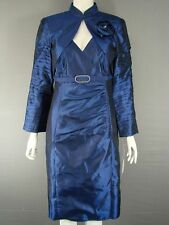 MICHEL AMBERS/FRANK USHER NAVY BLUE SILK BOLERO JACKET & DRESS SUIT SIZE 12-22