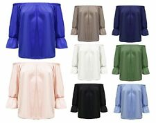 NEW WOMENS CELEB OFF THE SHOULDER PLAIN SHIRRED FRILL  BARDOT TOP 3/4 SLEEVE